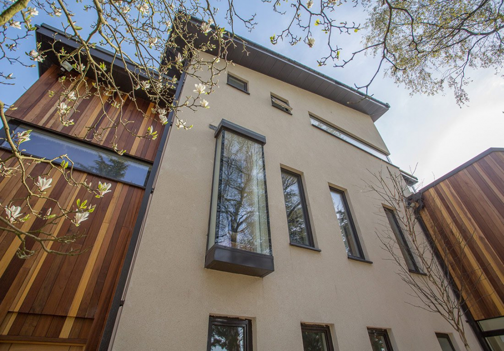 husk architectural aluminium fascia, soffits, cappings and downpipes, cefn coed
