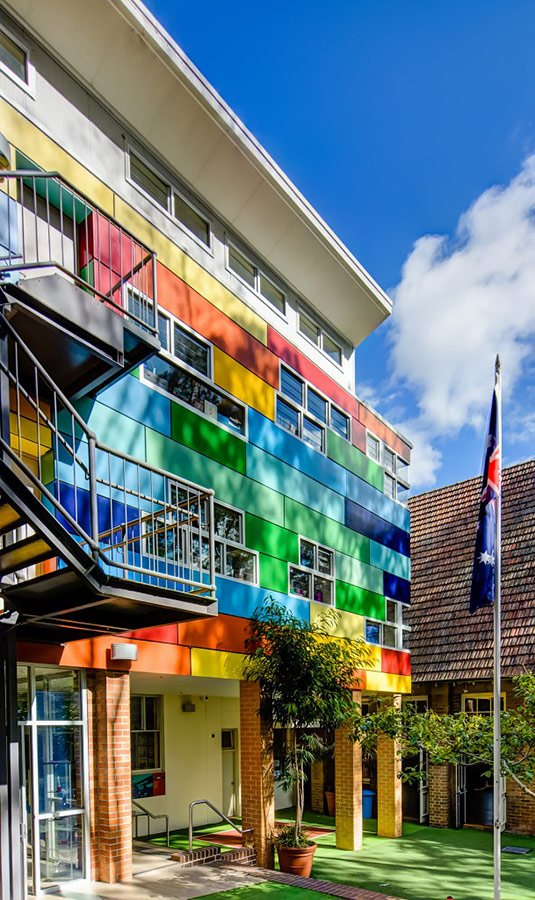 Multi-Coloured Fibre Cement Cladding Panels used on School