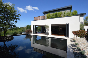 Aluminium fascia, soffit and coping in RAL 7021 by Husk Architectural