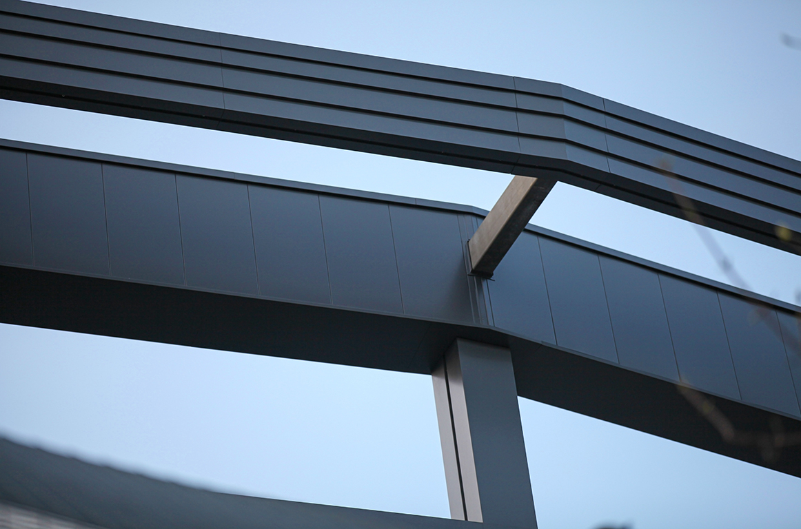 hammersmith academy aluminium wraparound cladding fascias walkway soffits close up