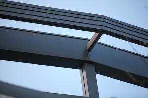 hammersmith academy aluminium wraparound cladding fascias walkway soffits close up